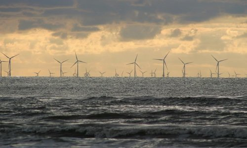 wind farm in the sea