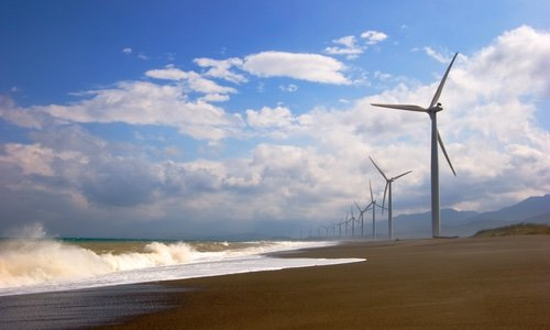 wind farm in the beach